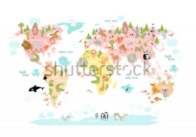 Naklejka Zawiera mapę świata ze zwierzętami dziecięcymi dla dzieci. Europa, Azja, Ameryka Południowa, Ameryka Północna, Australia, Afryka. Lew, krokodyl, kangur. koala, wieloryb, niedźwiedź, słoń, rekin, wąż,