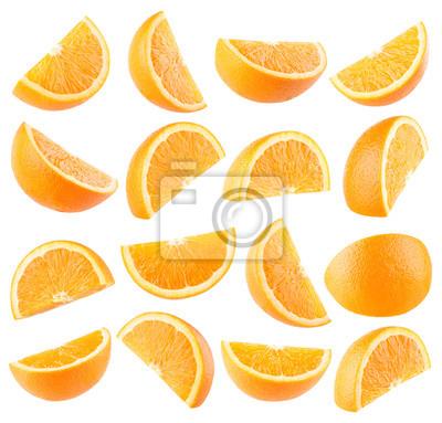 Naklejka Zbiór 16 plasterki pomarańczy na białym tle
