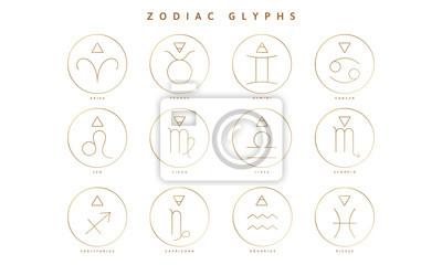 Naklejka Zbiór glifów, znaków i symboli zodiaku
