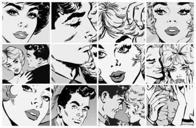 Naklejka Zbiór ilustracji, pary w miłości