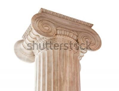 Naklejka Zbliżenie kapitału (woluta i liczydło) z XIX wieku neoklasyczna kolumna jonowa na białym. Ta kolumna znajduje się na werandzie Muzeum Archeologicznego w Atenach w Grecji.
