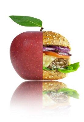 Naklejka Zdrowe i niezdrowe wybory żywieniowe food concept