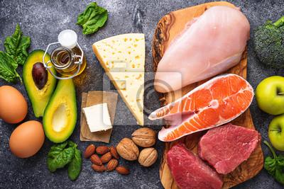 Naklejka Zdrowe produkty o niskiej zawartości węglowodanów. Dieta ketogeniczna.