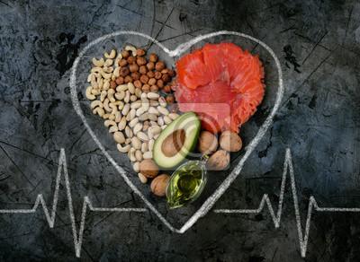 Naklejka zdrowe tłuszcze. zdrowe tłuszcze do serca. widok z góry.