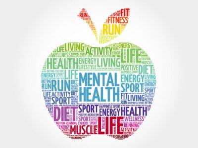 Naklejka Zdrowie psychiczne apple word chmura, koncepcja zdrowia