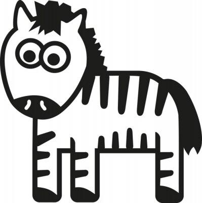 Naklejka Zebra kreskówka śmieszne
