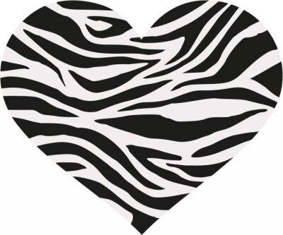 Naklejka Zebra serce wzór w dwóch kolorach