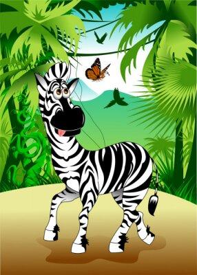 Naklejka Zebra w dżungli