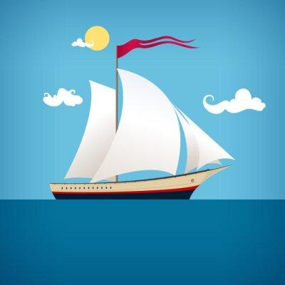 Naklejka Żeglarstwo statku w niebieski ocean, ilustracji wektorowych