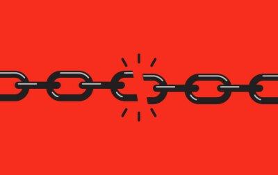 Naklejka Zerwany, podarty łańcuch