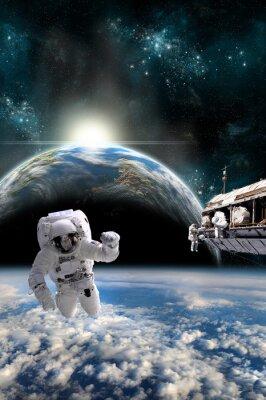 Naklejka Zespół astronautów pracy na stacji kosmicznej - Elementy tego zdjęcia dostarczone przez NASA.