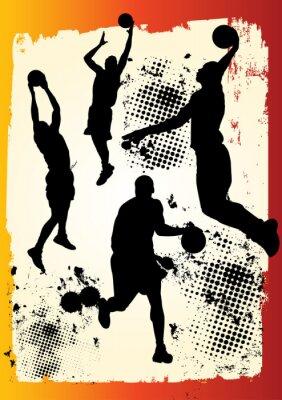 Naklejka Zespół koszykarz w wielu pozycjach na grunge