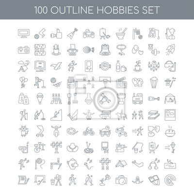 Naklejka Zestaw 100 zarysów ikon hobby, takich jak Gotowanie liniowe, Czytanie Yo