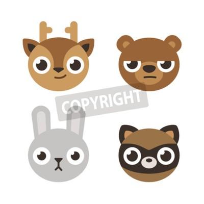Naklejka Zestaw 4 ślicznych głowach leśnych zwierząt: jelenie, niedźwiedzie, królika i szop. Mieszkanie w stylu kreskówki.
