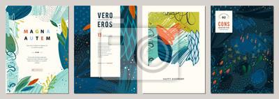 Naklejka Zestaw abstrakcyjnych kreatywnych uniwersalnych szablonów artystycznych.