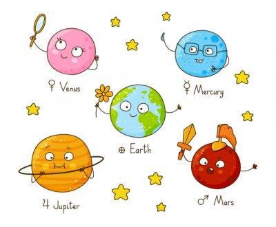Naklejka Zestaw cute cartoon planet