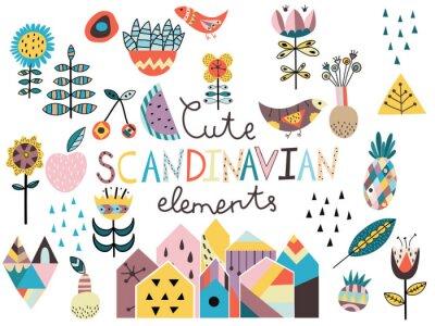 Naklejka Zestaw cute elementów stylu skandynawskim.