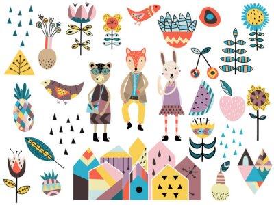 Naklejka Zestaw cute elementów stylu skandynawskim i zwierząt.
