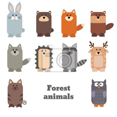 Naklejka Zestaw cute zwierząt leśnych