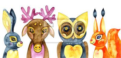 Naklejka Zestaw cute zwierząt leśnych. Ilustracja akwarela.