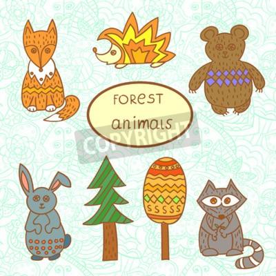 Naklejka Zestaw cute zwierząt leśnych. Ręcznie rysowane ilustracji.