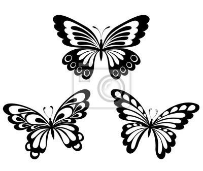 Naklejka Zestaw Czarno Biale Motyle Tatuaz Na Wymiar Czarny