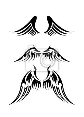 Naklejka Zestaw Czarno Biały Tatuaż Skrzydła Anioła Na Wymiar