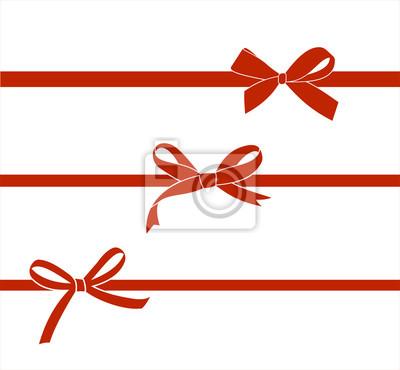 Naklejka Zestaw czerwony satynowa kokardka na białym tle. Łuki prezent wektor wystrój strony.