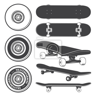 Naklejka Zestaw deskorolek i kół skateboarding.