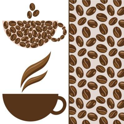 Naklejka Zestaw do kawy Vector, cup, ziaren kawy i wzór
