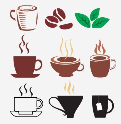 Naklejka zestaw filiżanek kawy i herbaty
