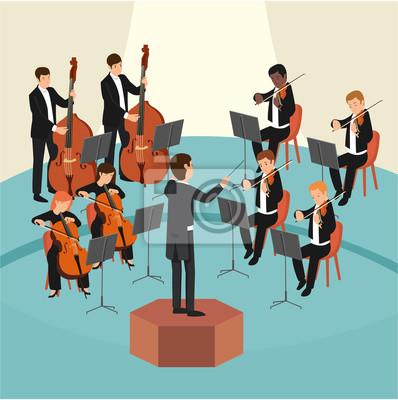 Naklejka Zestaw grupy orkiestrowej z dyrygentem na scenie