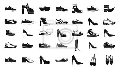 Naklejka Zestaw ikon butów, prosty styl