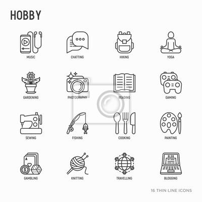 Naklejka Zestaw ikon cienka linia hobby: czytanie, gry, ogrodnictwo, fotografia, gotowanie, szycie, wędkarstwo, turystyka, joga, muzyka, podróże, blogowanie, dziewiarskich. Nowoczesne ilustracji wektorowych.