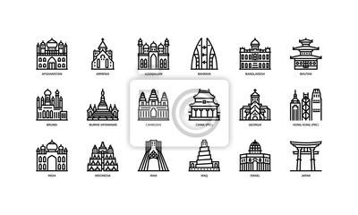 Naklejka Zestaw ikon miast azjatyckich 1