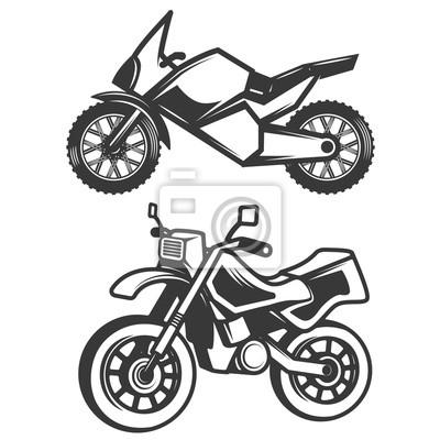 Zestaw ikon motocykla na białym tle.