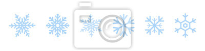 Naklejka Zestaw ikon niebieski płatki śniegu. Czarny płatek śniegu. Szablon płatki śniegu. Zima śnieżynka. Ikony płatki śniegu. Ikona wektor śnieżynka