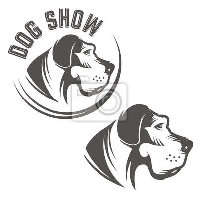 Zestaw ikon pies głowy samodzielnie na białym tle.