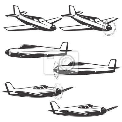 Zestaw ikon samolot na białym tle. eleme design
