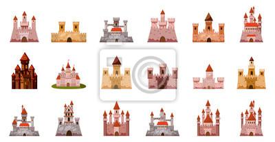 Naklejka Zestaw ikon średniowiecznego zamku, stylu cartoon