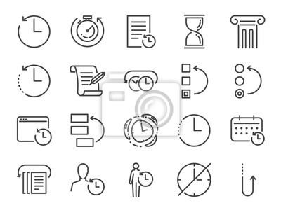 Naklejka Zestaw ikon zarządzania historią i czasem. Zawarte ikony jako Anti-Aging, revert, time, reverse, u-turn, time machine, waiting, reschedule i więcej