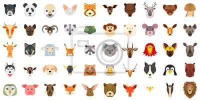 Naklejka Zestaw ikon zwierząt. Płaski zestaw zwierząt wektorowe ikony do projektowania stron internetowych