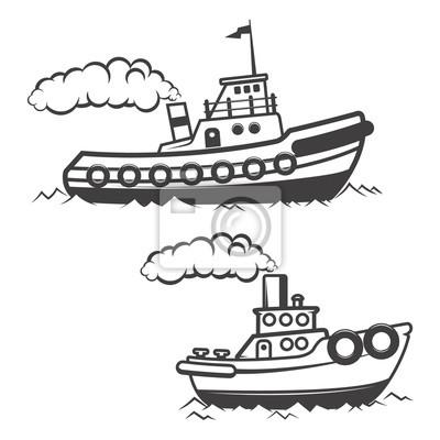 Zestaw ilustracji holownik na białym tle. łodzi i
