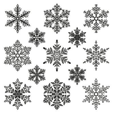 Naklejka zestaw ilustracji śniegu
