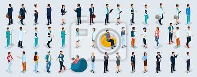 Naklejka Zestaw izometryczny biznesmenów i przedsiębiorców