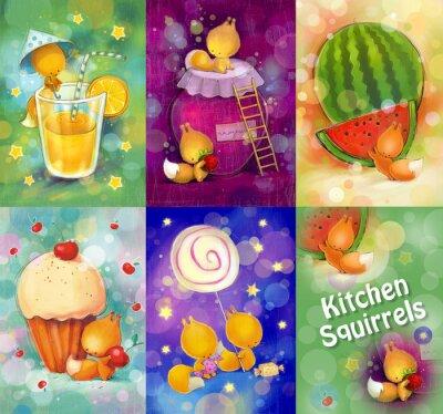 Naklejka Zestaw kart z małych wiewiórek w kuchni.