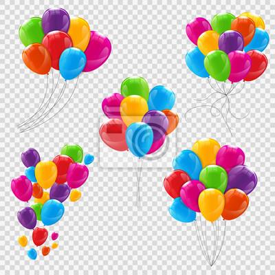 Naklejka Zestaw, kije i grupy kolorów Błyszczące helu dymki izolowane