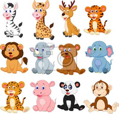 Naklejka Zestaw kolekcja kreskówka dzikich zwierząt