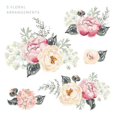 Naklejka Zestaw kompozycji kwiatowych. Różowe bukiet peony z szarego liści. Ilustracja wektorowa akwarela. Romantyczne kwiaty ogrodowe.
