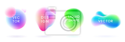 Naklejka Zestaw kropel gradientu cieczy. Abstrakcyjne kształty płynów z efektem kameleona. Kolorowe płynne odznaki. Elementy ozdobne do projektowania. Wektor eps 10.